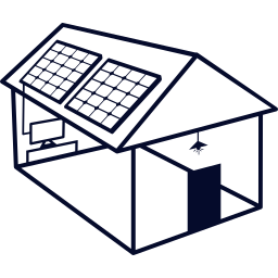 solar powered house building with solar panels on the roof
